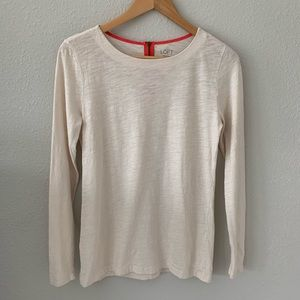 LOFT | Beige Long Sleeve Shirt Contrast Coral Zip